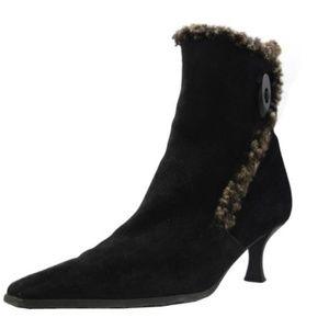 Stuart Weitzman Bootisima Black Suede Fur Booties